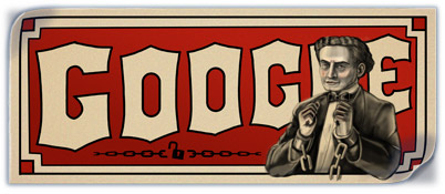 Google Logo: Harry Houdini's 137th Birthday, The Handcuff King - Hungarian-born American magician and escapologist