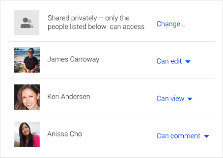Google Drive privacy and sharing options
