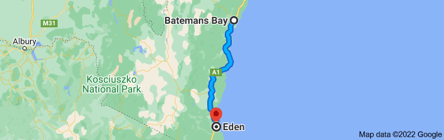 Map from Batemans Bay, New South Wales 2536 to Eden, New South Wales 2551