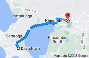 Map from Davistown, New South Wales 2251 to Kincumber, New South Wales 2251