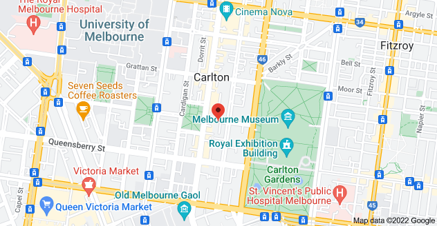 Map of 55 Pelham St, Carlton VIC 3053