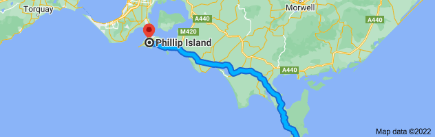 Map from Wilsons Promontory National Park, Wilsons Promontory VIC 3960 to Phillip Island, Victoria