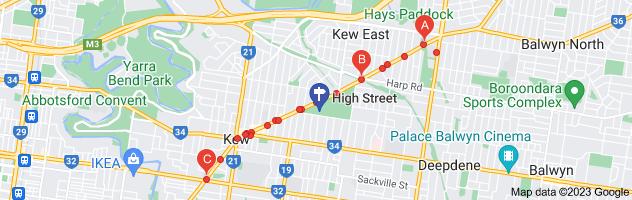 Map of tram high street kew