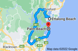 Map from Ettalong Beach, New South Wales 2257 to Palm Beach, New South Wales 2108