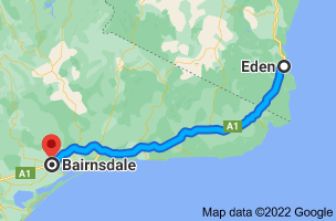 Map from Eden, New South Wales 2551 to Bairnsdale, Victoria 3875