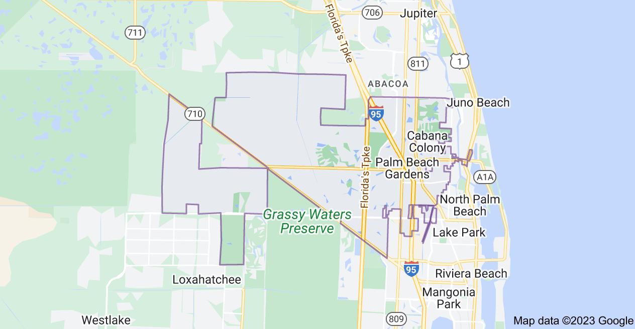 Map of Palm Beach Gardens, FL, USA