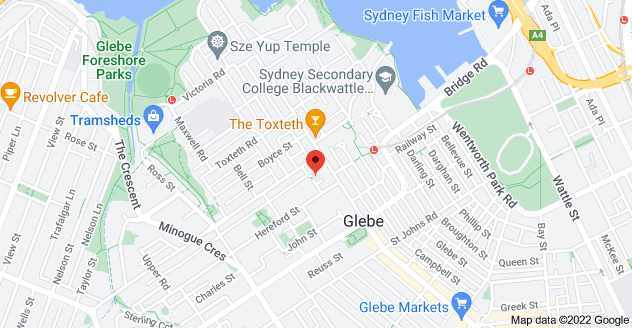 Map of 184 Glebe Point Rd, Glebe NSW 2037