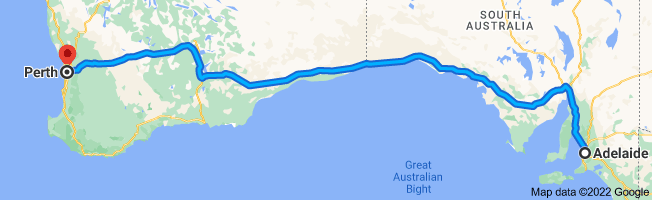 Map from Adelaide, South Australia to Perth, Western Australia