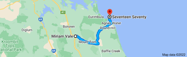 Map from Miriam Vale to Seventeen Seventy