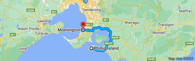 Map from Phillip Island, Victoria to Mornington, Victoria 3931