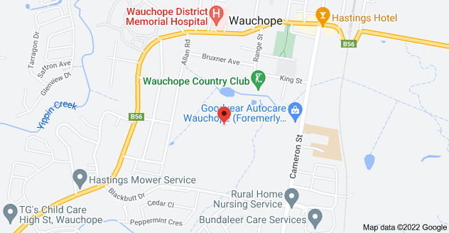 Map of 24 King St, Wauchope NSW 2446