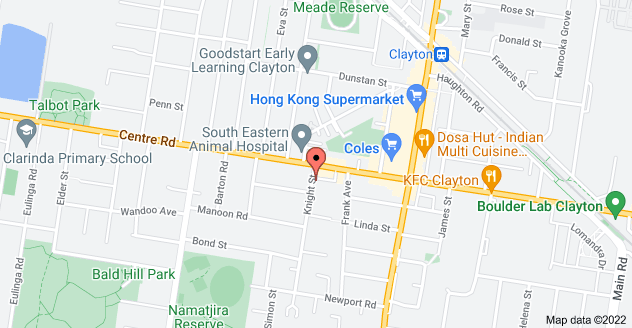 Map of 44 Knight St, Clayton South VIC 3169