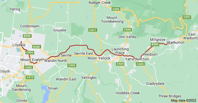 Map of Warburton Rail Trail, Victoria