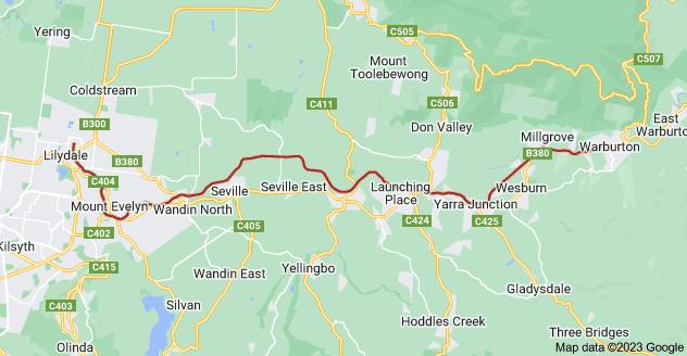 Map of Warburton Rail Trail, Victoria