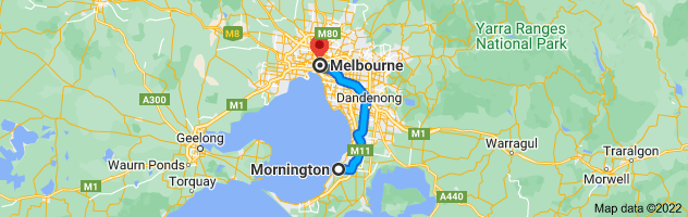 Map from Mornington, Victoria 3931 to Melbourne, Victoria