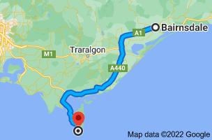 Map from Bairnsdale, Victoria 3875 to Wilsons Promontory National Park, Wilsons Promontory VIC 3960