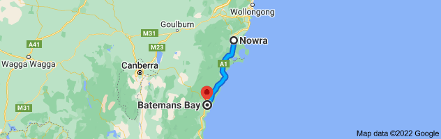 Map from Nowra, New South Wales 2541 to Batemans Bay, New South Wales 2536
