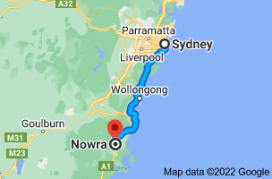 Map from Sydney, New South Wales to Nowra, New South Wales 2541
