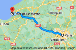 Map from Paris, France to Le Port, Le Havre, France